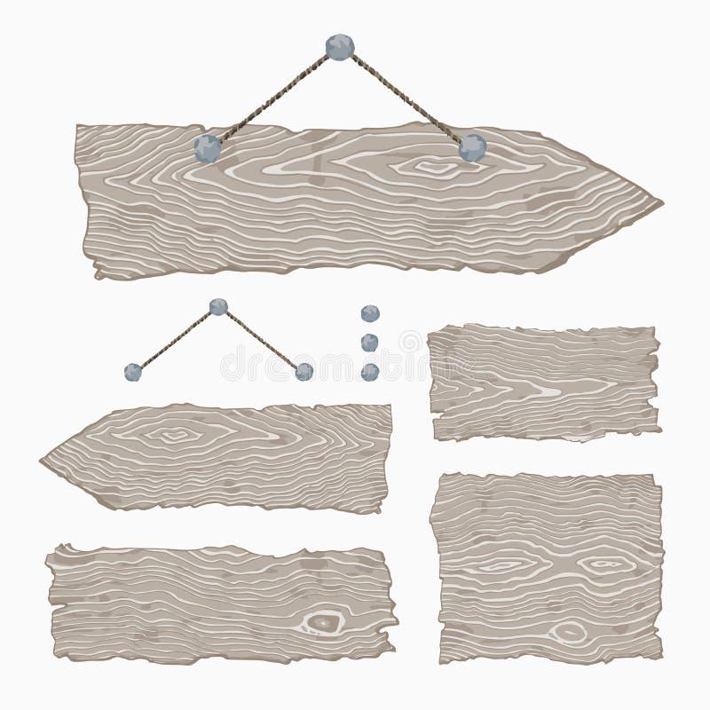 Muestras de madera en blanco (ejecución y grises claros) stock de ilustración