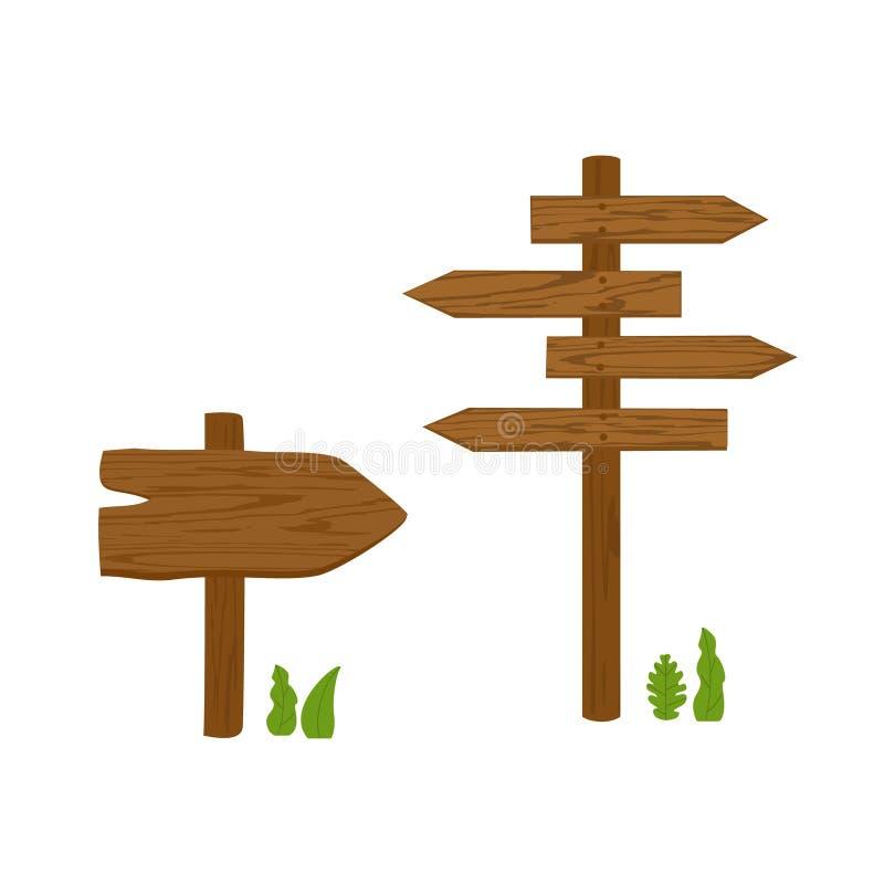 Muestras de madera de la flecha direccional ilustración del vector