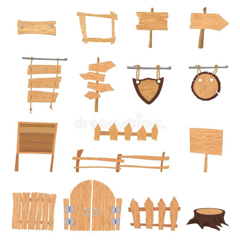 Muestras de madera de la historieta stock de ilustración