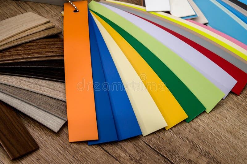 muestras de materiales para los muebles foto de archivo