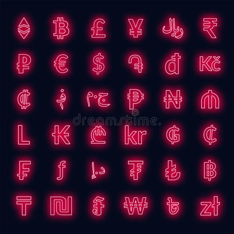Muestras de moneda de neón dólar, euro, esterlina, yenes, yuan, bitcoin, etherium, rublo y otras ilustración del vector