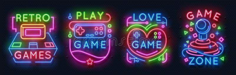 Muestras de neón del juego Zona retra de los videojuegos, emblemas que brillan intensamente del sitio del jugador, etiquetas de l ilustración del vector