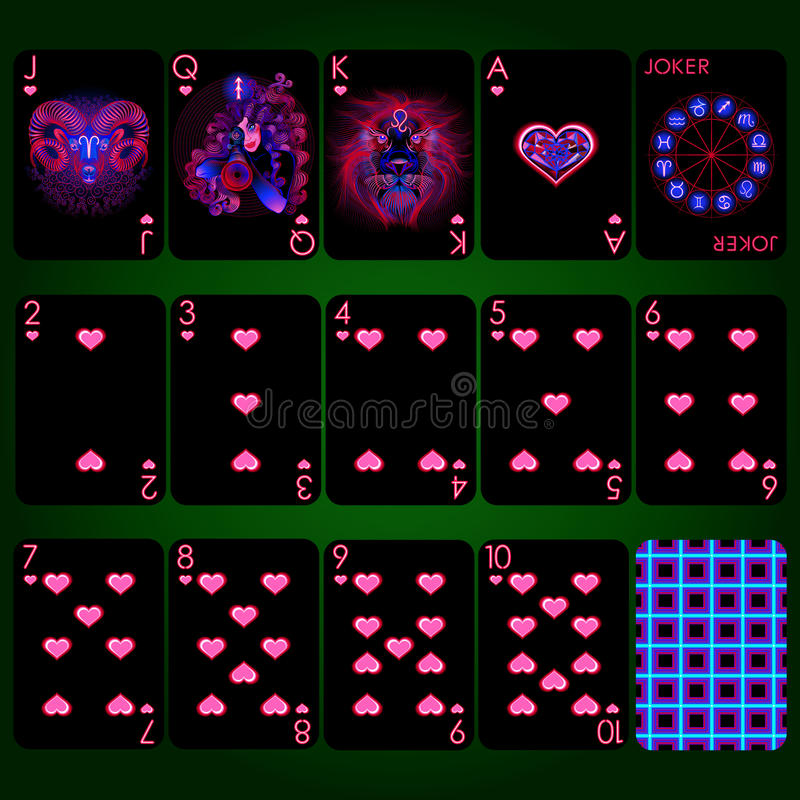 Muestras de neón del zodiaco de la serie de los naipes Sistema completo de los naipes del traje del corazón fotografía de archivo libre de regalías