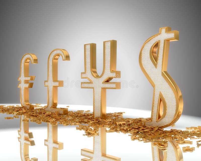 Muestras de oro del dólar, de la libra, del euro y de Yenes ilustración del vector