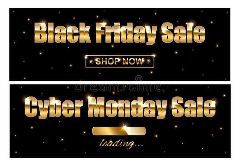 Muestras de oro de la venta de Black Friday y de la venta cibernética de lunes en fondo negro Ilustración del vector ilustración del vector
