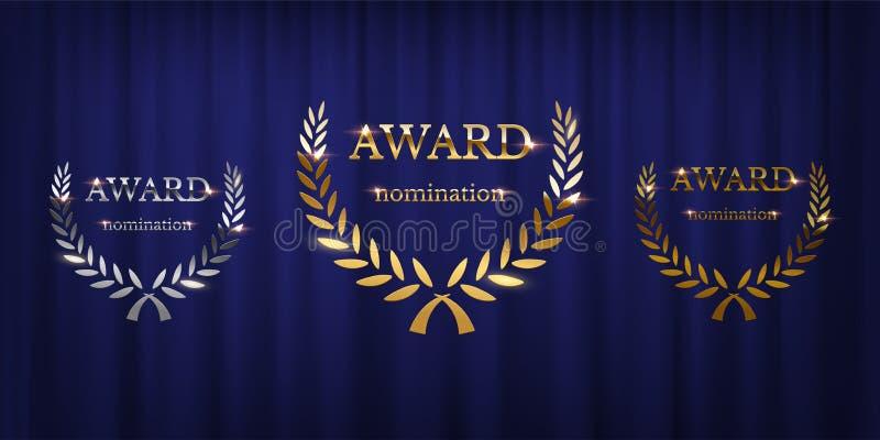 Muestras de oro, de plata y de bronce del premio con la guirnalda del laurel aislada en fondo azul de la cortina Diseño del premi stock de ilustración