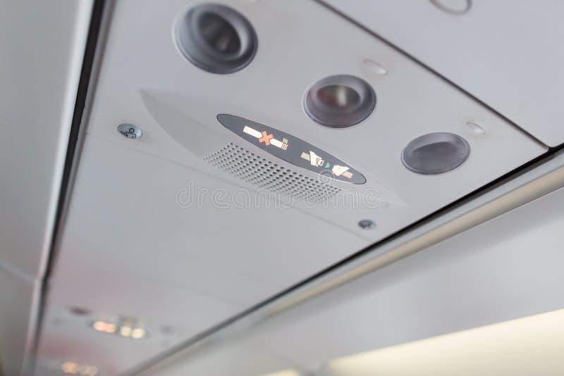 Muestras de seguridad del aeroplano foto de archivo
