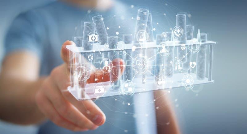 Muestras de tubos holográficos de sujeción y contacto del hombre proyectando la representación 3D imagenes de archivo
