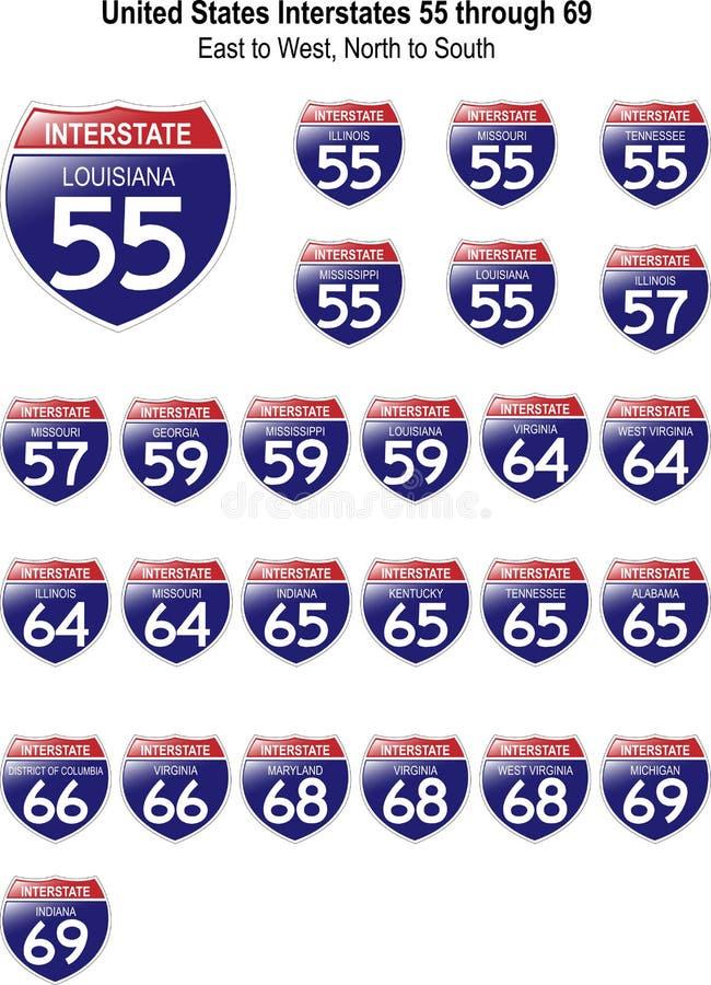 Muestras de un estado a otro I-55 de Estados Unidos a I-69 stock de ilustración