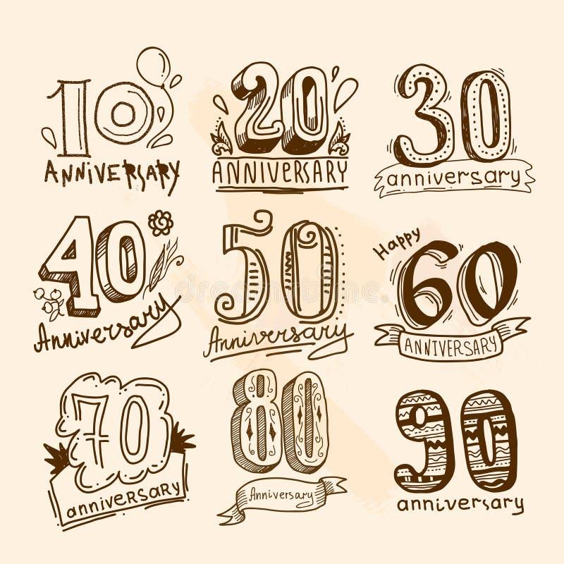 Muestras del aniversario fijadas ilustración del vector