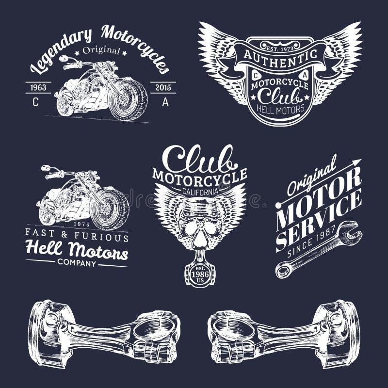 Muestras del club del motorista del vector Logotipos de la reparación de la motocicleta fijados La mano retra bosquejó etiquetas  libre illustration