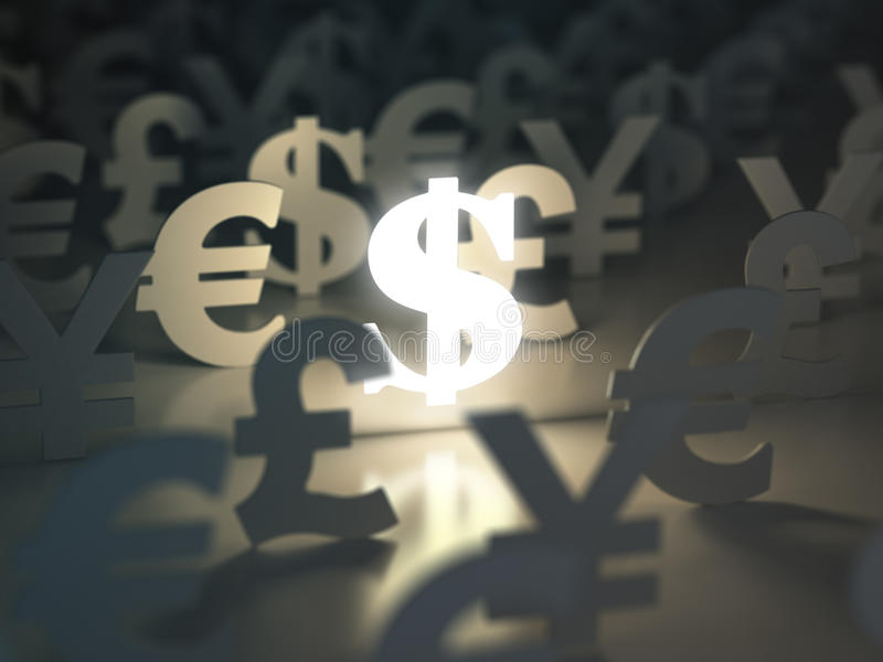 Muestras del dólar, del euro, de la libra y de yenes Concepto del intercambio de moneda stock de ilustración