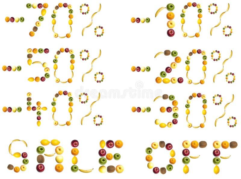 Muestras del descuento hechas de frutas libre illustration