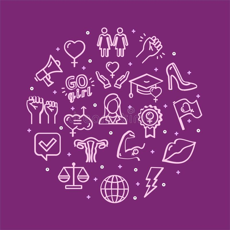 Muestras del feminismo alrededor de la línea fina concepto de la plantilla del diseño del icono Vector ilustración del vector