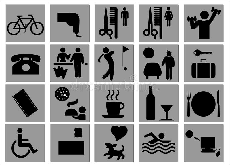 Muestras del hotel y del ocio/símbolos stock de ilustración