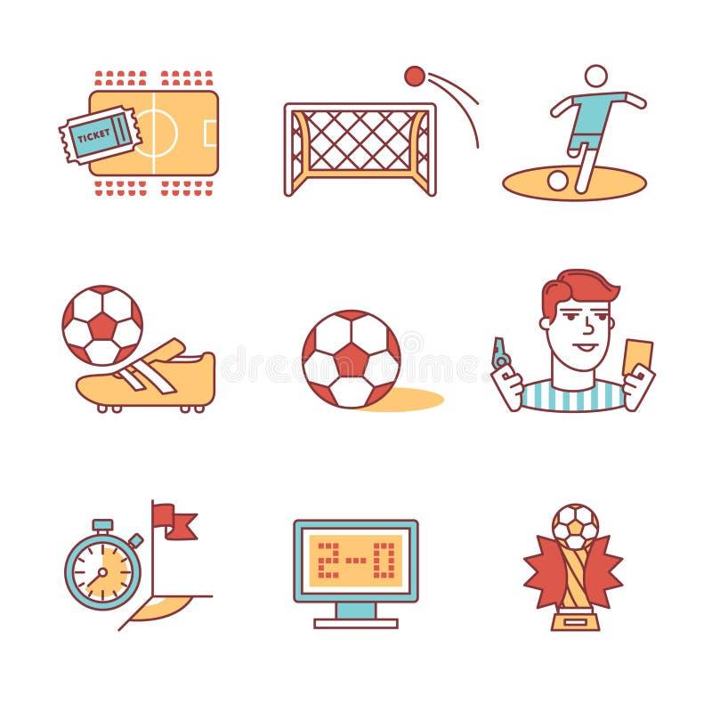 Muestras del juego de fútbol fijadas Línea fina iconos del arte ilustración del vector