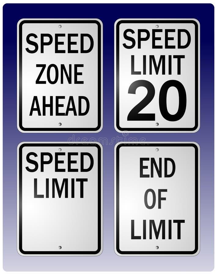 Muestras del límite de velocidad ilustración del vector