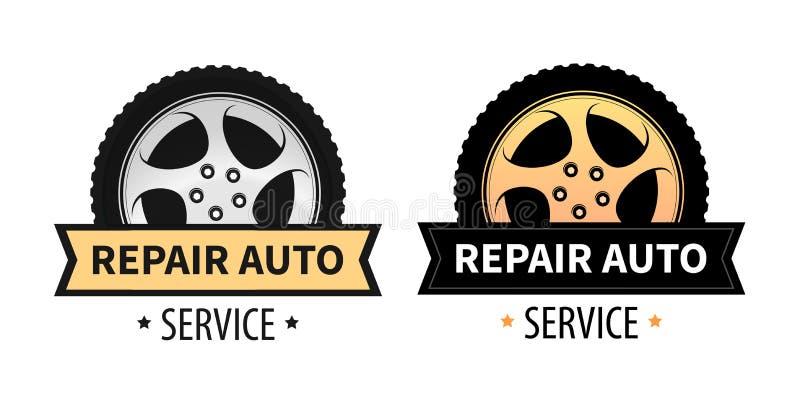 Muestras del vector para el letrero, la bandera y el logotipo del auto de la reparación y del servicio del neumático stock de ilustración