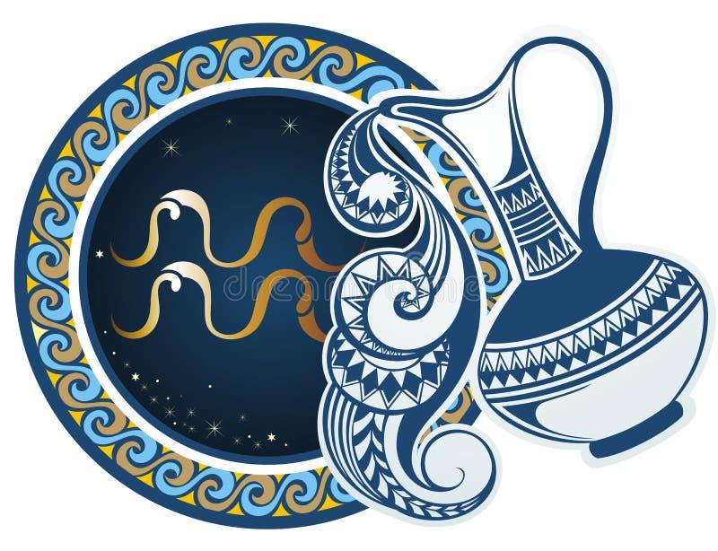 Muestras del zodiaco - acuario stock de ilustración
