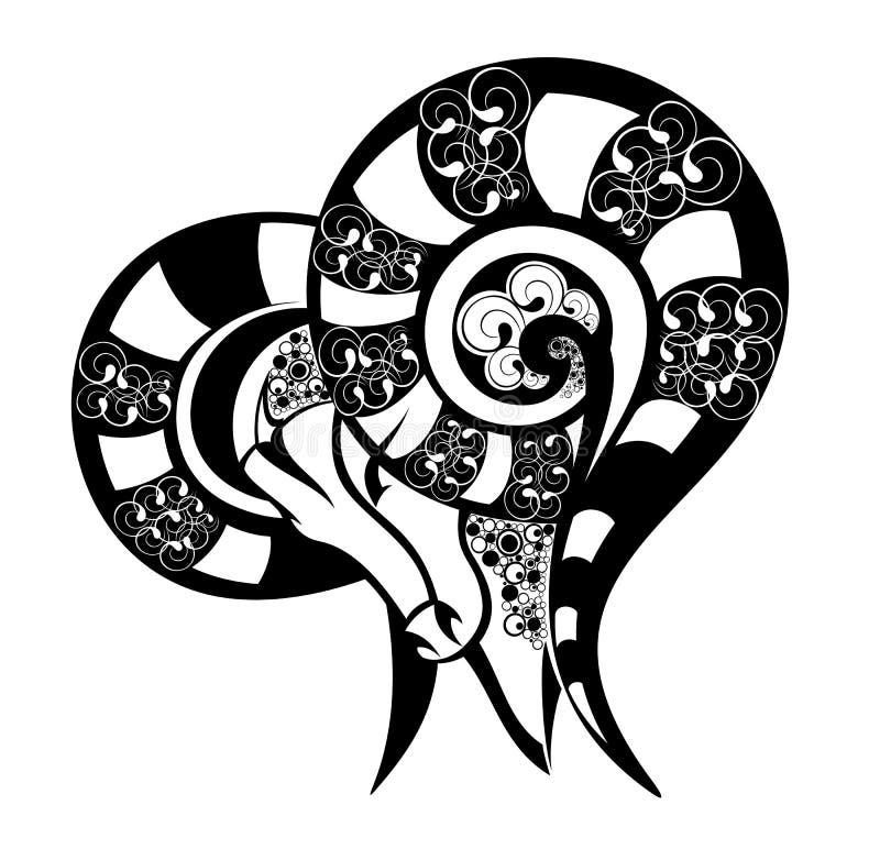Muestras del zodiaco - aries. Diseño del tatuaje. ilustración del vector