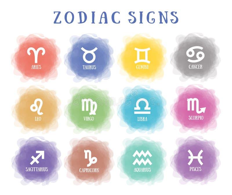 Muestras del zodiaco Círculo ahumado Línea símbolo Acuario, libra, leo, tauro, cáncer, Piscis, virgo, Capricornio, sagitario, ari stock de ilustración