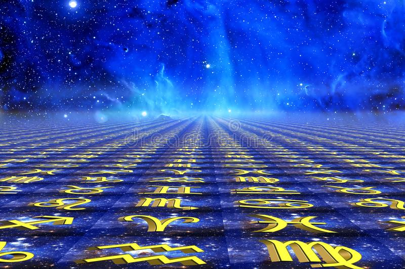 Muestras del zodiaco con las estrellas azules y universo de la galaxia como fondo de la astrología foto de archivo libre de regalías