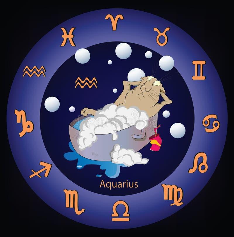 Muestras del zodiaco. El acuario. Historieta stock de ilustración