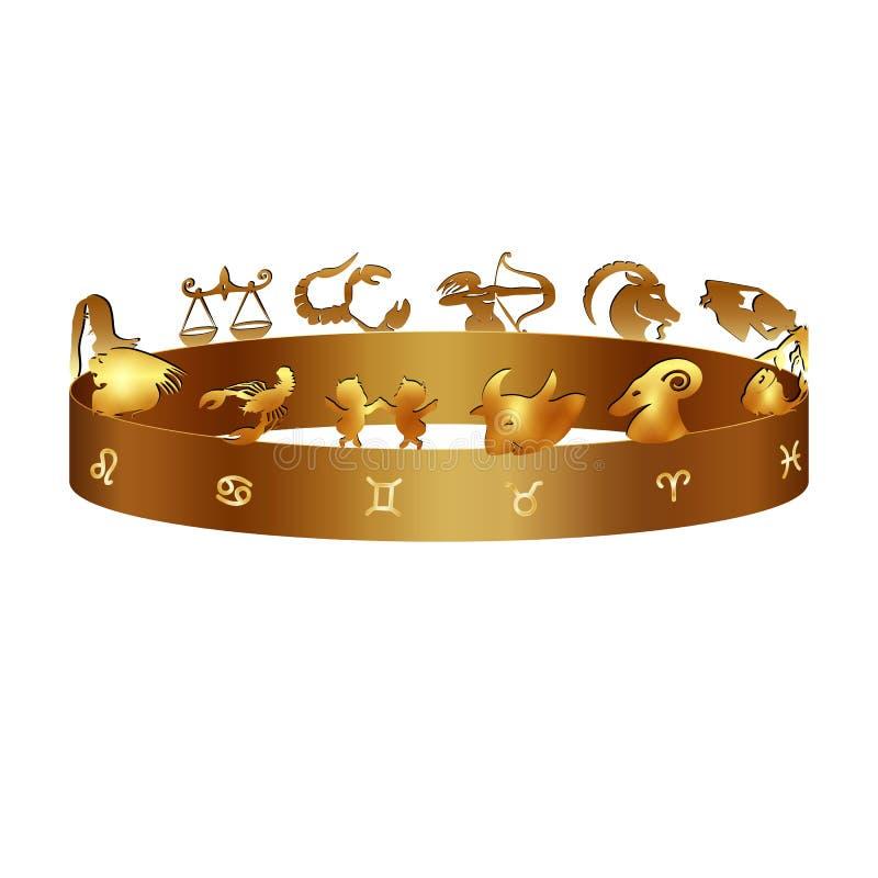 Muestras del zodiaco en el anillo stock de ilustración