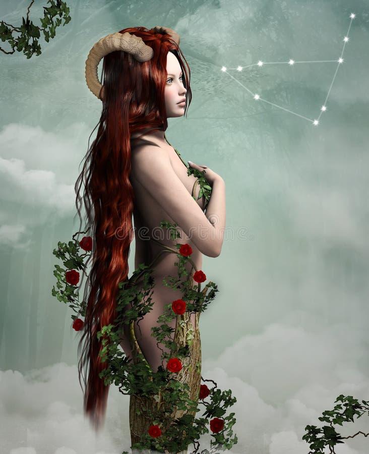 Muestras del zodiaco: pelirrojo hermoso como símbolo del Capricornio libre illustration