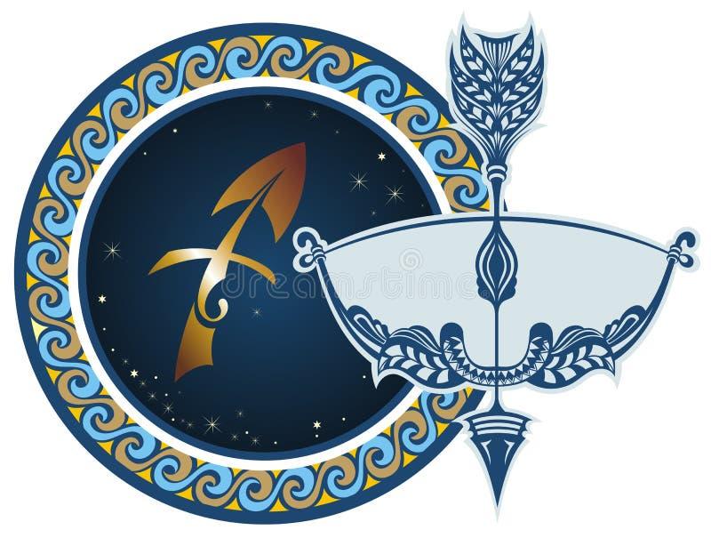 Muestras del zodiaco - sagitario stock de ilustración