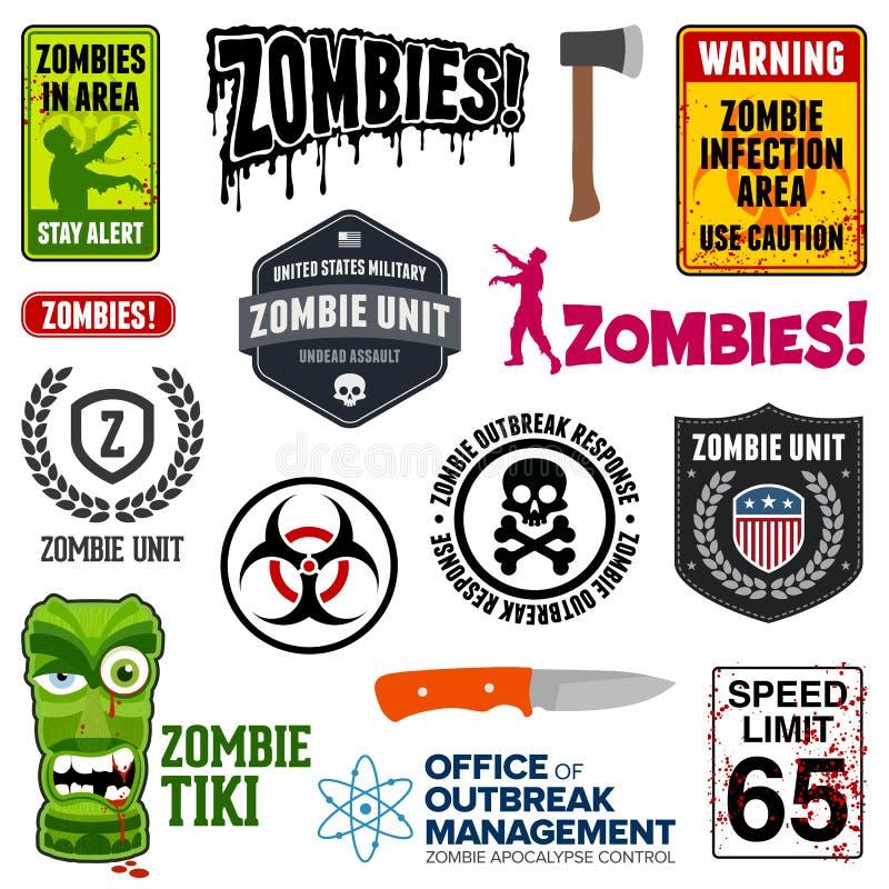 Muestras del zombi stock de ilustración