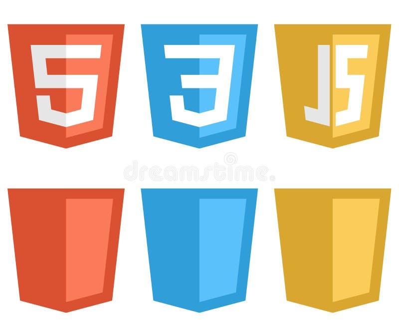 Muestras formadas escudo de la tecnología del web del color stock de ilustración