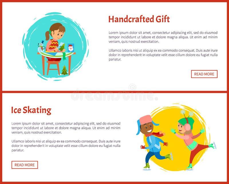 Muestras Handcrafted de la página web del patinaje del regalo y de hielo stock de ilustración