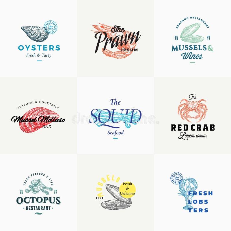 Muestras o Logo Templates Set retras del vector de los mariscos de la calidad superior Bosquejos dibujados mano del vintage con t libre illustration
