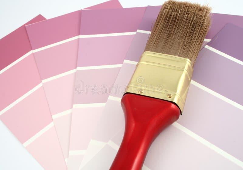 Muestras púrpuras de la pintura imagenes de archivo