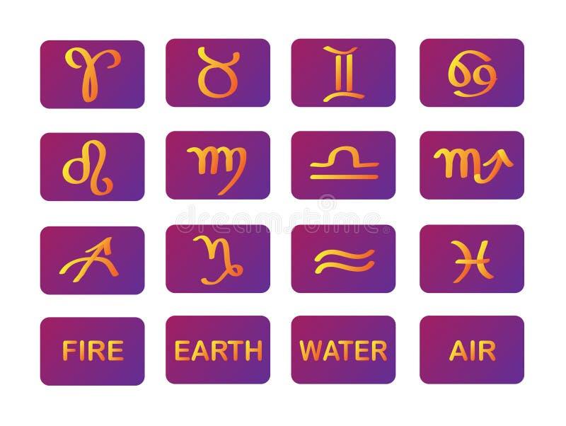 Muestras púrpuras del oro de los símbolos del horóscopo del zodiaco stock de ilustración
