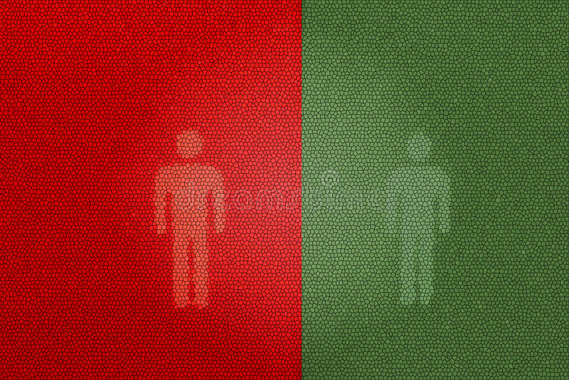 Muestras peatonales rojas y verdes (usando el retrete) imagen de archivo libre de regalías