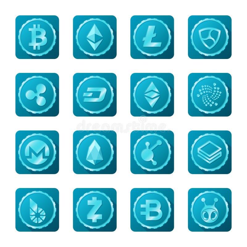 Muestras principales del cryptocurrency fijadas en fondo transparente libre illustration