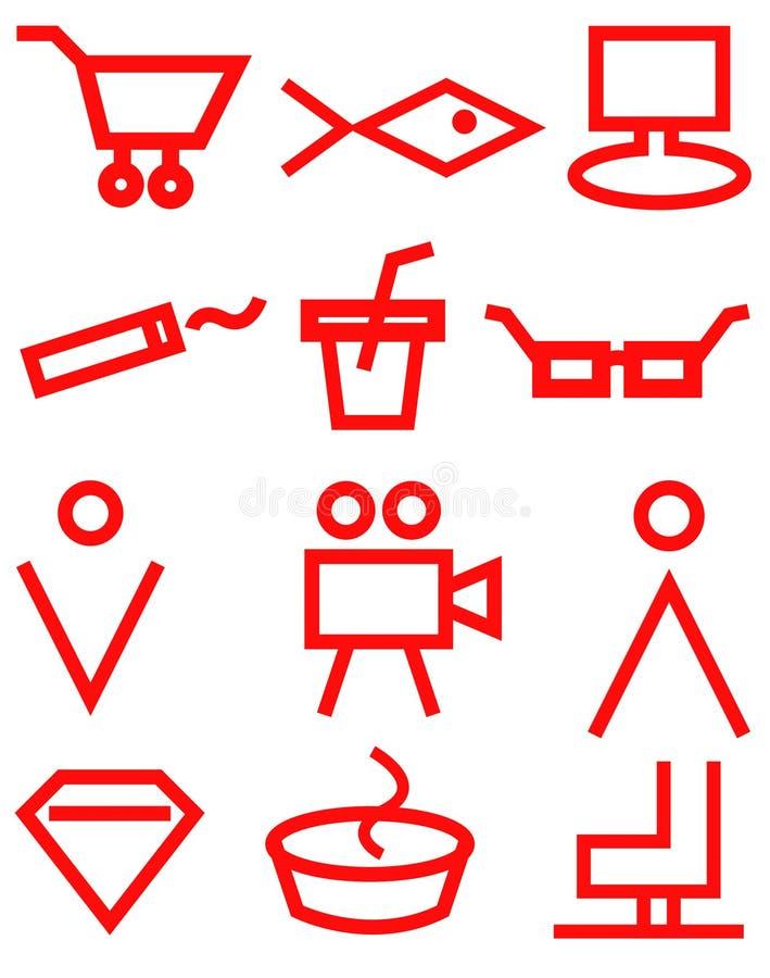 Muestras rojas en el fondo blanco, iconos, tienda, mercado de la navegaci?n del supermercado stock de ilustración