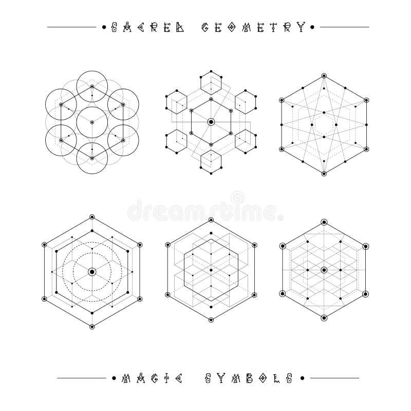 Muestras sagradas de la geometría Alquimia, religión, filosofía, espiritualidad, símbolos del inconformista y elementos Dimension stock de ilustración