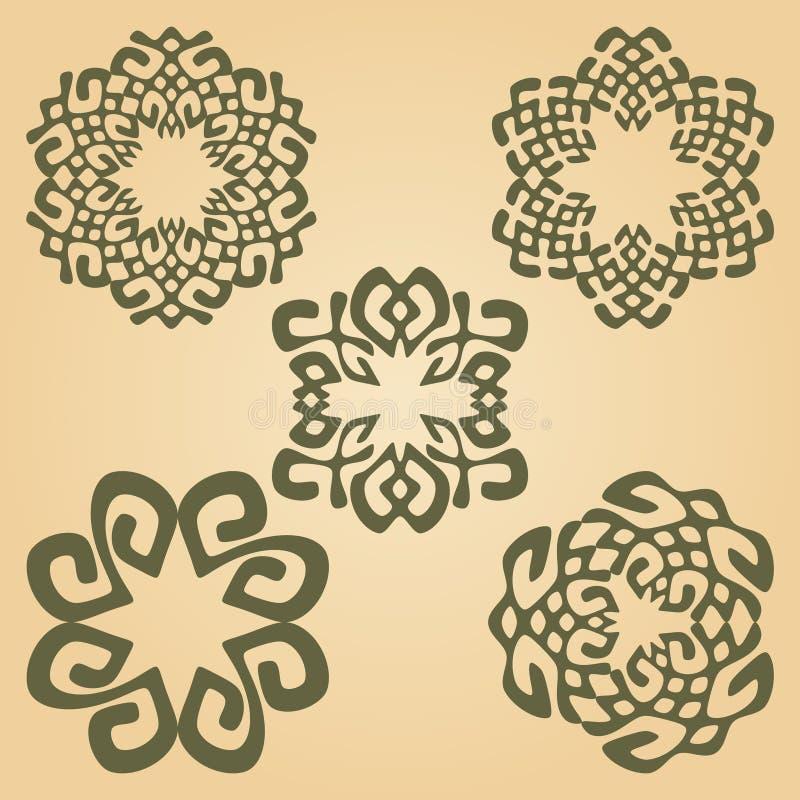 Muestras y elementos florales del diseño en sistema colorido en fondo beige del grunge stock de ilustración