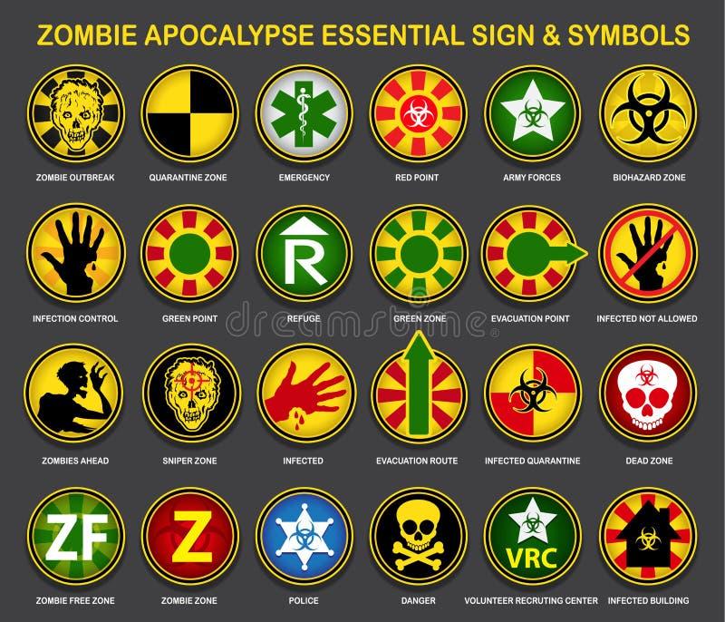Muestras y símbolos esenciales de la apocalipsis del zombi ilustración del vector