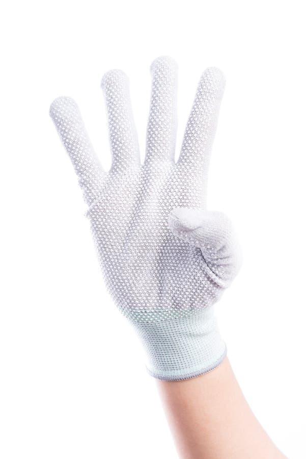Muestre el finger de las manos cuatro con algodón foto de archivo