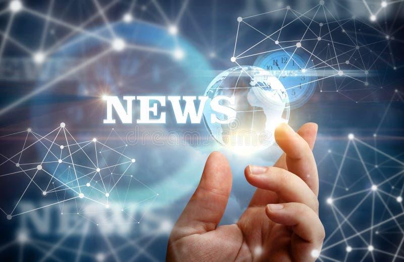Muestre la red de las noticias en fondo azul fotografía de archivo