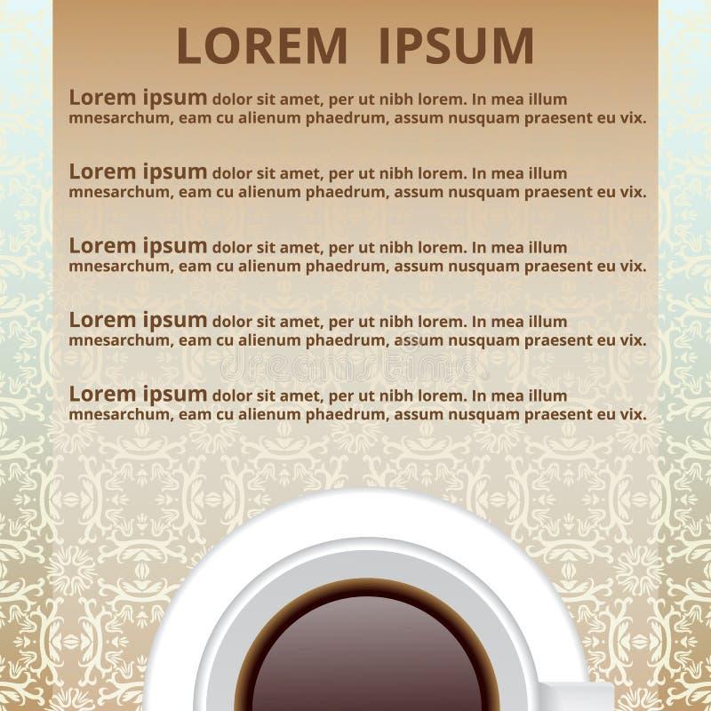 Muestree el menú, una taza de té, la inscripción libre illustration
