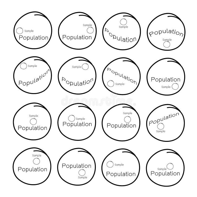 Muestreo de proceso de la investigación de una población objetivo stock de ilustración