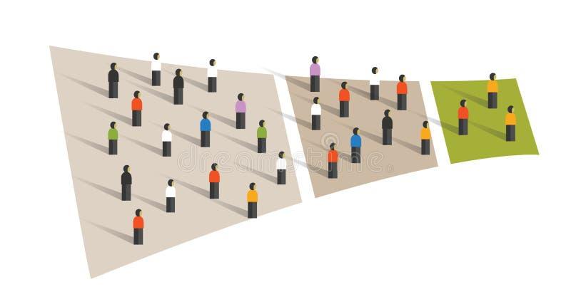 Muestreo gráfico del grupo de la conversión del flujo del embudo de la muchedumbre de la gente libre illustration
