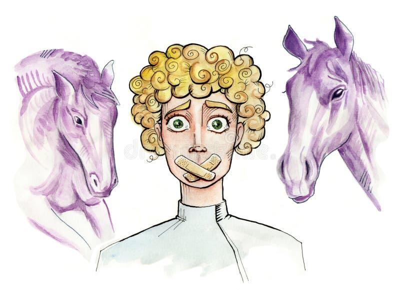 Muet Illustration d'un garçon avec des sparadraps au-dessus de sa bouche illustration de vecteur
