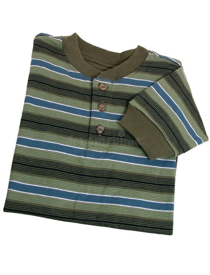 muffen för skjortan för pojkemode görade randig den långa s litet barn royaltyfri bild