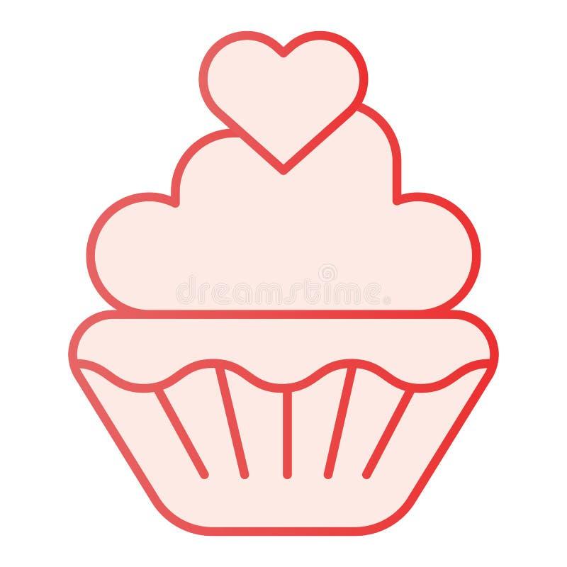 Muffin βαλεντίνων επίπεδο εικονίδιο Γλυκά ρόδινα εικονίδια cupcake στο καθιερώνον τη μόδα επίπεδο ύφος Κέικ με το σχέδιο ύφους κλ ελεύθερη απεικόνιση δικαιώματος